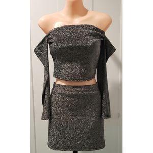 Forever 21 Glitter Knit Skirt Set